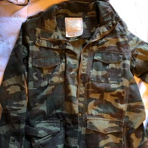 Military green utility jacket